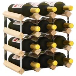 stradeXL Stojak na 12 butelek wina, lite drewno sosnowe