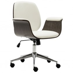 stradeXL Krzesło biurowe, białe, gięte drewno i sztuczna skóra