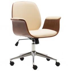 stradeXL Krzesło biurowe, kremowe, gięte drewno i sztuczna skóra