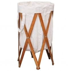 stradeXL Składany kosz na pranie, kremowy, drewno i tkanina