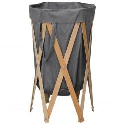 stradeXL Folding Laundry Basket Grey Wood and Fabric