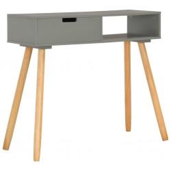 stradeXL Stolik konsola, szary, 80 x 30 x 72 cm, lite drewno sosnowe