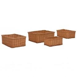 stradeXL 4 Piece Stackable Basket Set Brown Willow