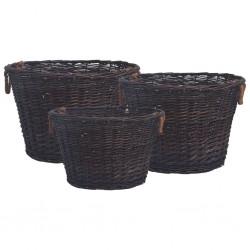 stradeXL 3-cz. zestaw koszyki na drewno, sztaplowane, brązowa wiklina