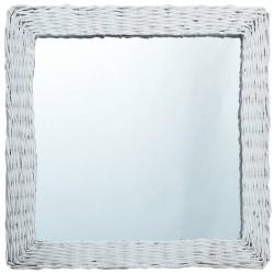 stradeXL Lustro, białe, 50x50 cm, wiklina
