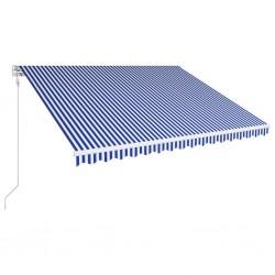 stradeXL Automatycznie zwijana markiza, 450 x 300 cm, niebiesko-biała