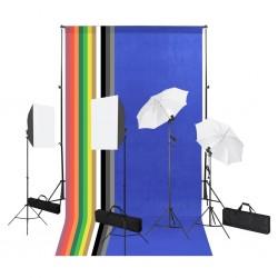 stradeXL Zestaw studyjny z lampami softbox, tłami i parasolkami