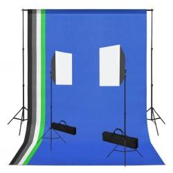 stradeXL Photo Studio Kit with Softbox Lights and Backdrops