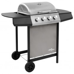 stradeXL Gas BBQ Grill with 4 Burners Black and Silver