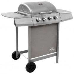 stradeXL Gas BBQ Grill with 4 Burners Silver