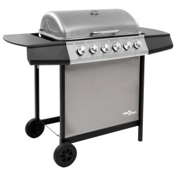 stradeXL Gas BBQ Grill with 6 Burners Black and Silver
