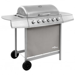 stradeXL Gas BBQ Grill with 6 Burners Silver