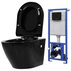 stradeXL Podwieszana toaleta ceramiczna ze spłuczką podtynkową, czarna