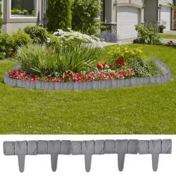 Plastic Garden / Lawn Fence Stone Look 41 pcs 10 m