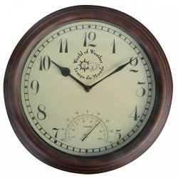 Esschert Design Zegar dworcowy z termometrem, 30,5 cm, TF007