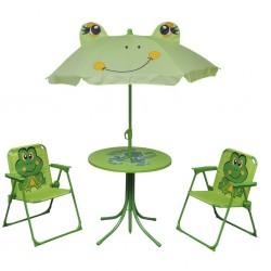 stradeXL 3-cz. dziecięcy zestaw mebli do ogrodu, z parasolem, zielony