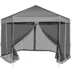stradeXL Rozkładany namiot ogrodowy z 6 ściankami; 3,6 x 3,1 m, szary