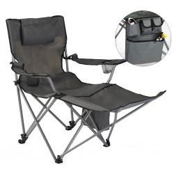 HI Luksusowe krzesło turystyczne z podnóżkiem, antracytowe