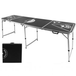 HI Składany stół do Beer Ponga, regulowana wysokość, czarny