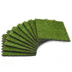 stradeXL Sztuczna trawa w płytkach, 30x30 cm, 10 sztuk, zielona