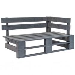 stradeXL Ogrodowa ławka narożna z palet, drewno, szara