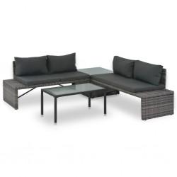 stradeXL 3-cz. zestaw wypoczynkowy do ogrodu, poduszki, rattan PE, szary