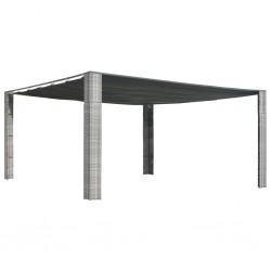 stradeXL Altana z suwanym dachem, polirattan, 400x400x200 cm, szara