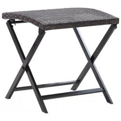 stradeXL Składany stołek, rattan PE, brąz