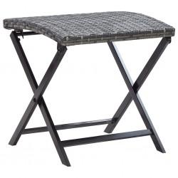 stradeXL Składany stołek, rattan PE, szary