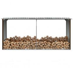 stradeXL Garden Log Storage Shed Galvanised Steel 330x92x153 cm Brown