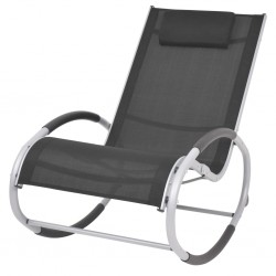 stradeXL Ogrodowy fotel bujany, czarny, textilene