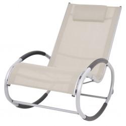 stradeXL Ogrodowy fotel bujany, kremowy, textilene