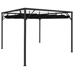 stradeXL Garden Gazebo with Retractable Roof Canopy 3x3 m Anthracite