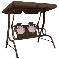 stradeXL Kids Swing Bench Brown 115x75x110 cm Fabric