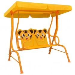 stradeXL Kids Swing Bench Yellow 115x75x110 cm Fabric