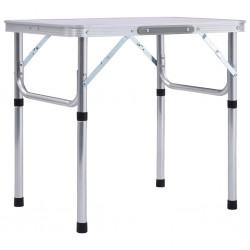stradeXL Składany stolik turystyczny, biały, aluminiowy, 60 x 45 cm