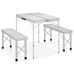 stradeXL Składany stolik turystyczny z 2 ławkami, aluminium, biały