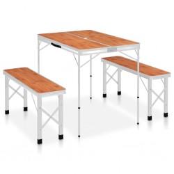 stradeXL Składany stolik turystyczny z 2 ławkami, aluminium, brązowy
