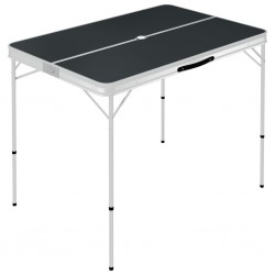stradeXL Składany stolik turystyczny z 2 ławkami, aluminium, szary