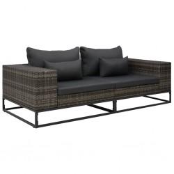 stradeXL 2-częściowa sofa do ogrodu, z poduszkami, polirattan, szara
