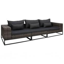 stradeXL 3-częściowa sofa do ogrodu, z poduszkami, polirattan, szara