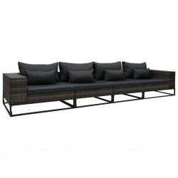 stradeXL 4-częściowa sofa do ogrodu, z poduszkami, polirattan, szara