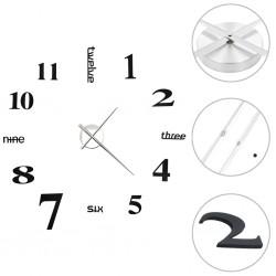 stradeXL 3D Wall Clock Modern Design 100 cm XXL Black
