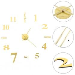 stradeXL 3D Wall Clock Modern Design 100 cm XXL Gold