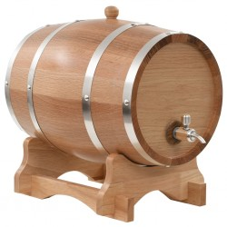 stradeXL Beczka na wino z kranikiem, lite drewno dębowe, 12 L