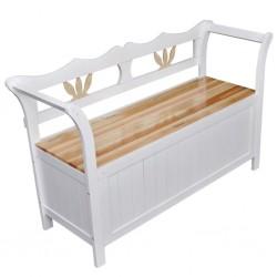 stradeXL Drewniana ławka ze schowkiem, 126x42x75 cm, biała