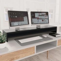 stradeXL Podstawka pod monitor, czarna, 100x24x13 cm, płyta wiórowa