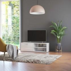 stradeXL Szafka pod TV, wysoki połysk, biała, 120x34x37cm, płyta wiórowa