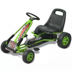 stradeXL Gokart dla dzieci, z regulacją siedziska, zielony