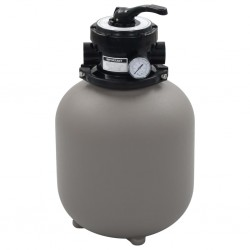 stradeXL Piaskowy filtr basenowy z zaworem 4 drożnym, szary, 350 mm
